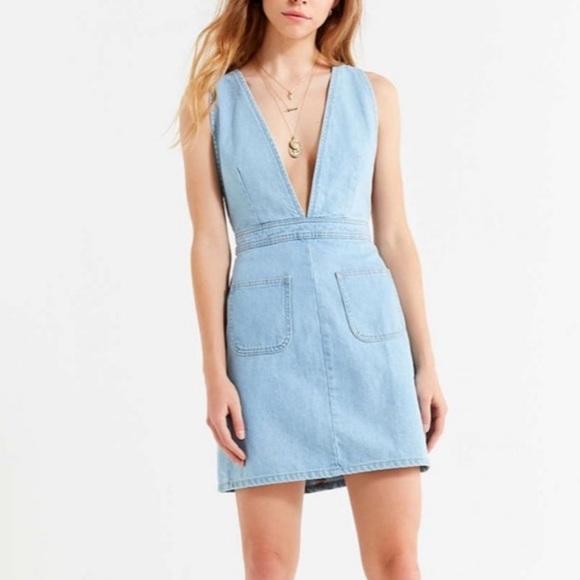 UO Plunge V-neck Denim Mini Dress Small